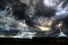 Storm Effect: Menacing clouds and lightnings