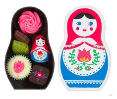 Sweet chocolate box with babushka illustration.