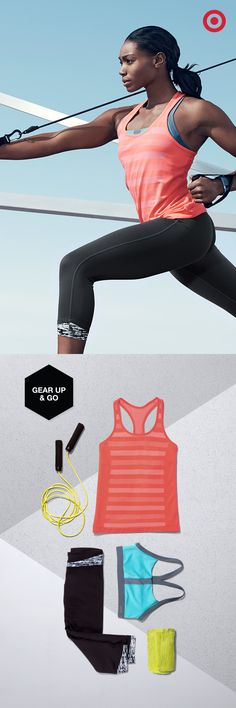 Pull together the perfect workout look for just about any routine. Here's what you need: The C9 Champion Premium Seamless Tank, T-Back Sports Bra and Performance Capris. Want to track your strength training? Add in an adjustable rope and training watch.