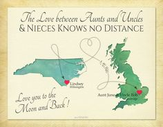 Long Distance Present, Aunts and Uncles and Niece Quote, Moving Away Gift, Birthday Gift for Niece, Anniversary Present, Custom Map Print by KeepsakeMaps on Etsy  #AuntsAndUncles #NieceAndNephews #LongDistanceGift KeepsakeMapPrint