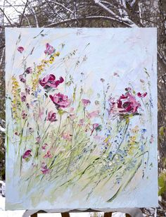 Items similar to Red Blue Art Wildflowers Abstract Original Painting Blue Custom Bouquet Painting Floral Flower Beige Landscape Impressionism Modern Knife on Etsy Easy Flower Painting, Diy Painting, Flower Art, The Joy Of Painting, Spring Painting, Blue Art, Abstract Flowers, Watercolor Art, Original Paintings