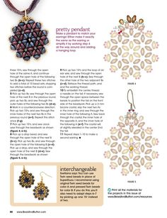 from Bead & button april 2016 Beaded Jewelry Patterns, Beading Patterns, Beaded Earrings, Crochet Earrings, Free Beading Tutorials, O Beads, Twin Beads, Beading Techniques, Bead Art