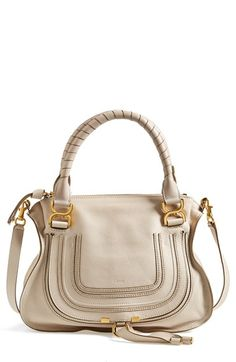 """Free shipping and returns on Chloé 'Medium Marcie' Leather Satchel at Nordstrom.com. <p><B STYLE=""""COLOR:#990000"""">Pre-order this style today! Add to Shopping Bag to view approximate ship date. You'll be charged only when your item ships.</b></p><br>Textured, curvy flap—branded by subtle embossing—secures the front pocket of a sophisticated satchel crafted from lightly pebbled calfskin and topped with wrapped handles and an optional strap."""