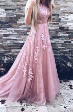 A-Line Crew Sweep Train Pink Tulle Prom Dress with Appliques Sash