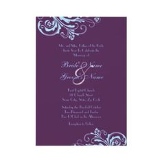 Turquoise And Purple Chic Wedding Invitation Blue Purple Wedding, Aqua Wedding, Purple Wedding Invitations, Turquoise And Purple, Chic Wedding, Wedding Bells, Wedding Colors, Dream Wedding, Aqua Blue