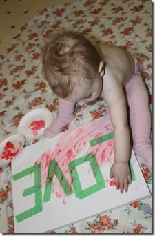 Put tape on canvas, let them finger paint, remove the tape.... gotta remember this