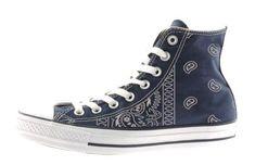 3fe672095bb9 Bandana Fever Silver Bandana Print Custom Navy Converse High Top Shoes  la   sneakers  shopping  urbanwear  cpt  bandoez  bandanastyle  bandanafashion  ...