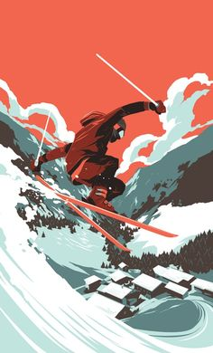Good solid lines. Great contrast of color between the sky and the world.Descent shading on the mountain regions and shadow effect on the skier. The skier is caught in a moment where he/she is afloat like an eagle about to descend to the planet. The whoosh of the implied snow points to direction and final destination for the skier.