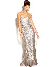 Jump Dress, Strapless Sequin Column Gown