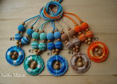 SALE Nursing Necklace with crochet wooden ring  by NittoMiton