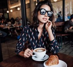 #ootd for coffee run with my boo  | wearing #SaintLaurent shirt & @illesteva sunnies by vivaluxuryblog