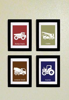 Printable Construction Trucks Wall art for Kids. $8.00, via Etsy.