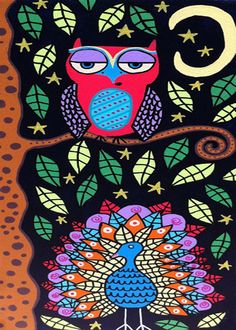 Kerri Ambrosino Art NEEDLEPOINT Mexican Folk Art Owl Peacock Tree Friends Starry Night on Etsy, $22.99