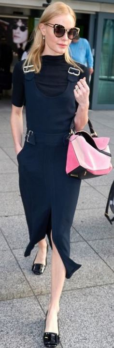 Who made Kate Bosworth's pink handbag and blue buckle dress?