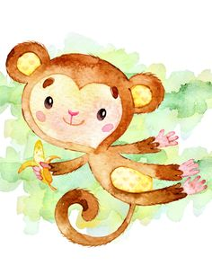 Set of Free Monkey Printables for Nursery Rooms that make adorable wall art for boy or girl nurseries, as well as a nursery for twins! Nursery Drawings, Baby Animal Drawings, Nursery Art, Cute Drawings, Free Monkey, Baby Animals, Cute Animals, Monkey Illustration, Baby Art