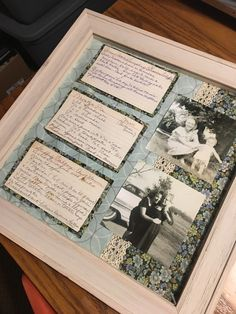 Framed recipes, with vintage family photos