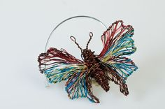 Vassiliki Mikropoulou-vmikro.blogspot.com: #BrownTurquoise #Butterfly #Brooch  #https://www.etsy.com/listing/122228371/brown-turquoise-butterfly-brooch?ref=shop_home_active_8 This is a handmade butterfly brooch made of colored copper and silver wire. The height of the butterfly is 5cm and the width (body with wings) is 6cm.The pin is handmade silver. €45.00