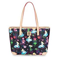 Alice in Wonderland Tea tote-aler leather Charleston Shopper by Dooney & Bourke. Bursting with color from a dreamy ''Tea Time'' pattern, it's a wondrous tote bag for daily wandering.