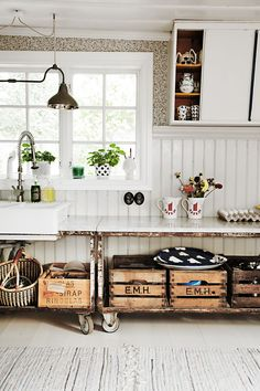 Check Out 27 Vintage Wooden Kitchen Island Design Ideas. Vintage is a very popular style in interiors, and a vintage kitchen looks very stylish. Farmhouse Kitchen Cabinets, Wooden Kitchen, Rustic Kitchen, Vintage Kitchen, Kitchen Decor, Swedish Kitchen, Kitchen Ideas, Scandinavian Kitchen, Kitchen Sink