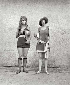 Two winners of a beauty pageant, back when the standards of beauty were much different (1922).