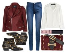 """""""street style"""" by sisaez ❤ liked on Polyvore featuring Maje, Chloé, Brandon Maxwell, Prada and NYX"""