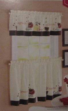 Brown Coffee Cappuccino Cups 24L Tiers Valance Kitchen Curtains Set Part 24