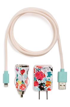 Swapping out the boring white cords for this playful, floral set, which includes a charging cable, a wall plug and a car charging port for on-the-go power.