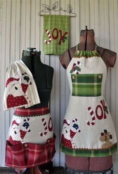 Just 2 Tea Towels Christmas Set (Pattern) from The Wooden Bear Set has directions for making a long apron, short apron, and tea towels for display. Each apron is made using ONLY TWO TEA TOWELS! Christmas Aprons, Christmas Tea, Christmas Sewing, Towel Apron, Cute Aprons, Shabby Fabrics, Sewing Aprons, How To Purl Knit, Yarn Shop