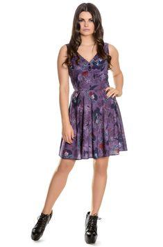 715fa0bd1286 Spin Doctor Raven Mini Dress Small New purple raven skull rose Halloween  gothic  fashion