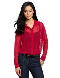 Bcbgeneration Women's Hi Low Hem Shirt, Red Berry, Small