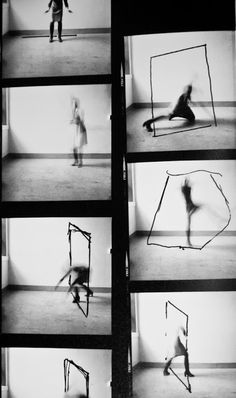 """rudygodinez: """" Francesca Woodman, Untitled, Above is a contact sheet produced by Woodman while attending the Rhode Island School of Design. It shows Woodman in her studio interacting with hand drawn images of geometric shapes Francesca Woodman, Narrative Photography, A Level Photography, White Photography, Motion Photography, Conceptual Photography, Contemporary Photography, Documentary Photography, Street Photography"""