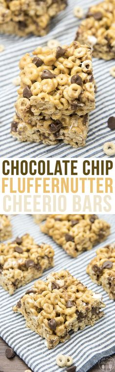Chocolate Chip Fluffernutter Bars - These ooey gooey cereal bars. Chocolate Chip Fluffernutter Bars - These ooey gooey cereal bars are coated in a marshmallow peanut butter mixture and stuffed full of chocolate chips for a delicious treat! Cereal Treats, Cereal Bars, No Bake Treats, Yummy Treats, Sweet Treats, Kashi Cereal, Paleo Cereal, Quinoa Cereal, Trix Cereal