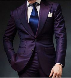 Purple Mens Wedding Prom Suits 2 Pieces Groom Tuxedos Two Buttons Dinner Blazer Best Man Groomsman Costumes terno masculino Groom Tuxedo, Tuxedo For Men, Sharp Dressed Man, Well Dressed Men, Mens Fashion Suits, Mens Suits, Suit Men, Men's Fashion, Terno Slim Fit