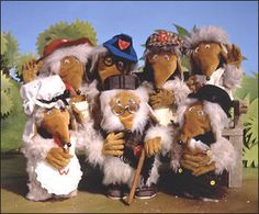 Underground, overground, wombling free!  The Wombles. Top row: Orinocho, Wellington, Bungle,Thomsk Front row: Madame Cholet, Great Uncle Bulgaria, Tobermory
