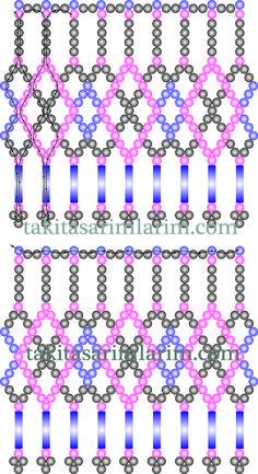 Boru Boncuklu Kolye Şablonu Diy Necklace Patterns, Beaded Jewelry Patterns, Seed Bead Tutorials, Beading Tutorials, Beaded Ornament Covers, Beading Patterns Free, Beaded Christmas Ornaments, Beaded Crafts, Diy Schmuck