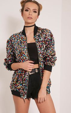 PrettyLittleThing Womens Ladies Riva Sequin Bomber Fashion Jacket Top in  Clothes 536ffacc26