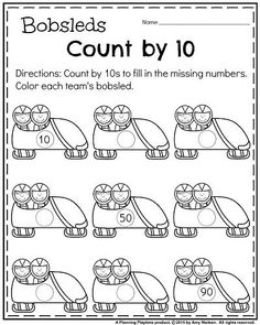 January Kindergarten Math Worksheets - Count by 10s Bobsleds. Fill in the missing numbers.