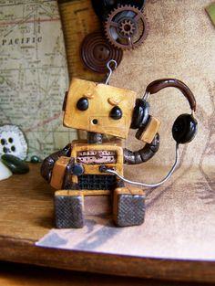 Radar the Robot by N-Chiodo on deviantART - kawaii Recycled Robot, Recycled Art, Arte Robot, Robot Art, Retro Robot, Found Object Art, Junk Art, Assemblage Art, Wood Toys
