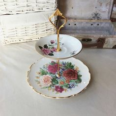 2 tier Royal Albert OOAK fine china cake stand/jewellery/make up organiser available on my site!  #etsy #housewares #shabbychic #ooak #cakestand #unique