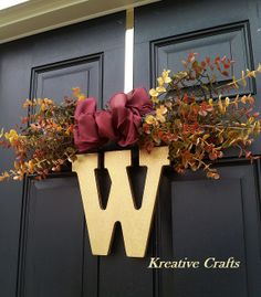 Fall wreaths for front door. Swag with Initial Wreath!