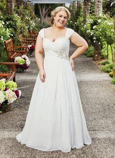 A-Line/Princess Sweetheart Court Train Chiffon Wedding Dress With Ruffle Beading (0025057386)