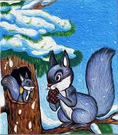 ..... Christmas Squirrel, Art Sites, Autumn Activities, Acrylic Art, Drawing For Kids, Winter Time, Vintage Postcards, Cute Pictures, Images