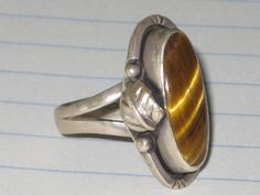 VINTAGE SILVER TIGER'S EYE LADIES RING STERLING SILVER