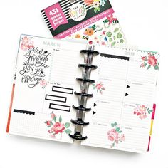A Gorgeous Mini Happy Planner Weekly Layout Using the HP Fun Florals Sticker Book Planner Layout, Goals Planner, Planner Pages, Planner Stickers, Life Planner, Planner Dashboard, Mini Happy Planner, Organizing, Organization