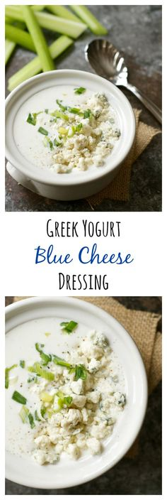 Greek Yogurt Blue Cheese Dressing Rich, creamy blue cheese dressing for a fraction of the calories? This light and healthy version is made with Greek yogurt. Cheese Recipes, Paleo Recipes, Dinner Recipes, Cooking Recipes, Braai Recipes, Meal Recipes, Blue Cheese Dressing, Dressing Rooms, Dressings