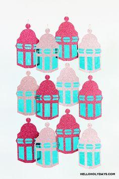 Celebrate Ramadan with lanterns! Make pretty lantern streamers for Ramadan.