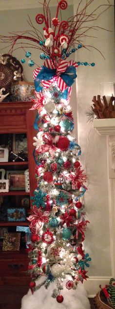 turquoise red pencil christmas tree - Year Round Christmas Tree