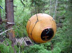 Free Spirit Spheres, Qualicum Beach, British Columbia, Canada.  At different times, the building looks great!