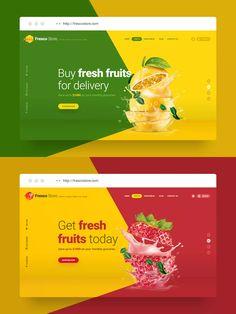 Fresco Store - Fruit Hero Header Template by on Envato Elements Food Web Design, Food Graphic Design, Food Poster Design, Creative Web Design, Web Design Trends, Restaurant Website Design, Beautiful Web Design, Presentation Board Design, Business Cards Layout