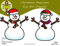 Thank you for your interest in the Christmas Snowmen Clip Art (freebie)! This set includes 2 brightly colored and 2 black and white images. Check out my other Snowmen Clip Art (which includes this free set) at the link below: Clip Art: Snowmen & Snowwomen These images are high resolution (300dpi), vector drawn, so they can be enlarged or made smaller without losing resolution.